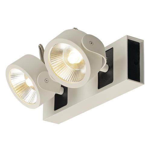 Marbel 1000130 SLV KALU 2 LED светильник накладной 31Вт с LED 3000К, 2000лм, 2х 60°, белый/ черный
