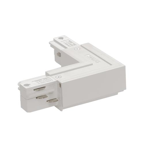 Marbel 1001520 SLV 3Ph | EUTRAC®, L-коннектор с разъёмом питания, 16А макс., GND по внешнему углу, белый (e