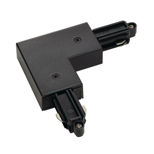 Marbel 143060 SLV 1PHASE-TRACK, L-коннектор с разъёмом питания, 16А макс., GND по внутреннему углу, черный