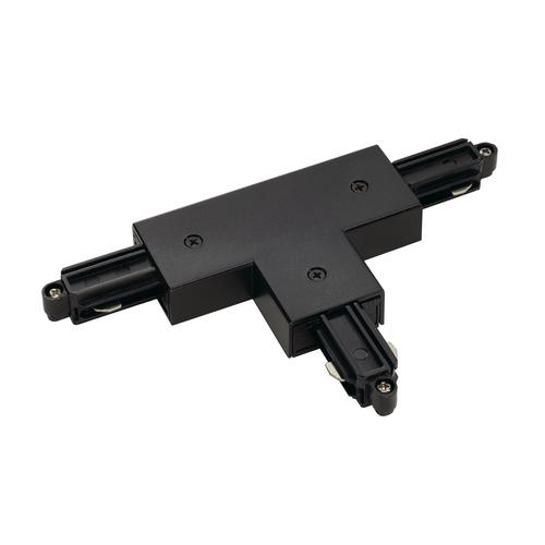 Marbel 143080 SLV 1PHASE-TRACK, T-коннектор с разъёмом питания, 16А макс., GND справа, черный