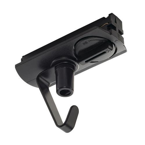 Marbel 143170 SLV 1PHASE-TRACK, адаптер с крюком для подвесных светильников, 2кг макс., 6А макс., черный