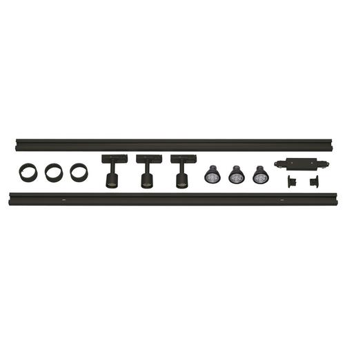 Marbel 143190 SLV 1PHASE-TRACK, комплект из 2-х шинопроводов по 1м, 3-х PURI с LED 4.3Вт, аксессуаров, черн
