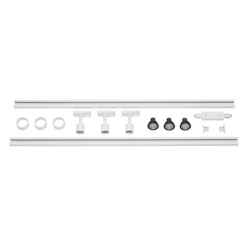 Marbel 143191 SLV 1PHASE-TRACK, комплект из 2-х шинопроводов по 1м, 3-х PURI с LED 4.3Вт, аксессуаров, белы