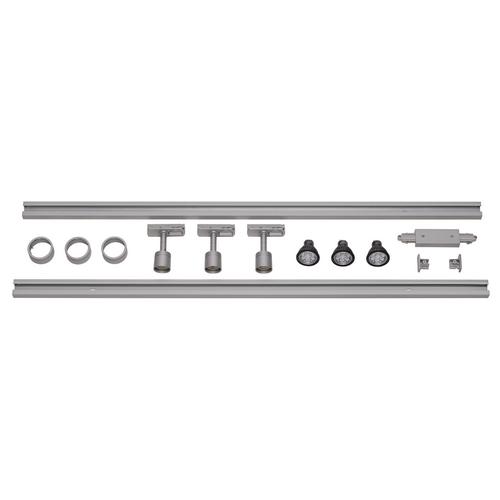 Marbel 143194 SLV 1PHASE-TRACK, комплект из 2-х шинопроводов по 1м, 3-х PURI с LED 4.3Вт, аксессуаров, сере