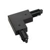 143050 1PHASE-TRACK, L-коннектор с разъёмом питания, 16А макс., GND по внешнему углу, черный SLV by Marbel